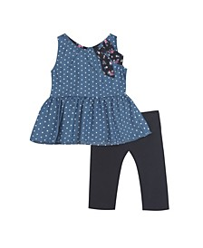 Baby Girls 2-Pc. Denim Polka-Dot Top & Leggings Set