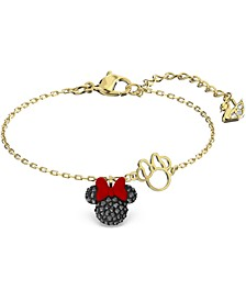 Gold-Tone Crystal Minnie Charm Link Bracelet