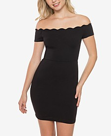Juniors' Off-The-Shoulder Scalloped Bodycon Dress
