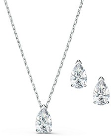Silver-Tone Crystal Pendant Necklace & Stud Earrings Set