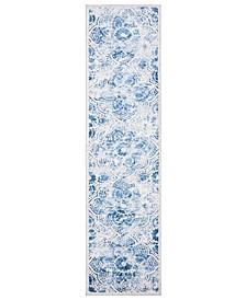 MSR2862D Cream and Blue 2' x 8' Runner Area Rug