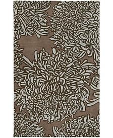 Chrysanthemum MSR4542G Driftwood 4' x 4' Round Area Rug