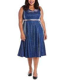 Plus Size Metallic Fit & Flare Dress
