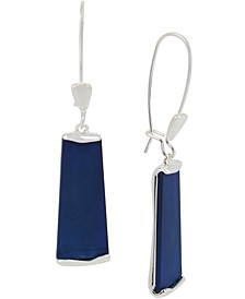 Silver-Tone & Blue Patina Geometric Drop Earrings