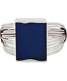 Silver-Tone & Blue Patina Geometric Cuff Bracelet
