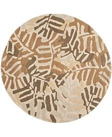 Palm Leaf MSR4548A Brown 8' x 8' Round Area Rug