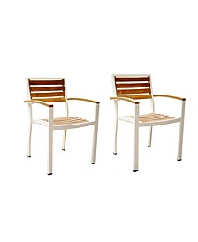 Catalina Stacking Teak OutdoorPatio Dining Chairs, Set of 2