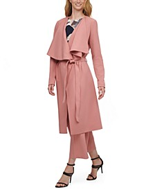 Draped-Lapel Trench Coat, Abstract-Print Top & Belted Culotte Pants