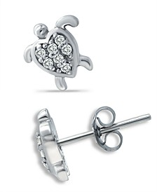 Cubic Zirconia Sea Turtle Stud Earrings in Sterling Silver, Created for Macy's