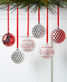 Chalet You Stay, Set of 6 Red & White Shatterproof Ornaments, Created for Macy's