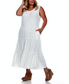 Plus Size Scoop Neck Tiered Midi Dress