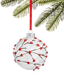 Chalet You Stay, Frosted Glass Ball with Beaded Berry Branch Decoration, Created for Macy's