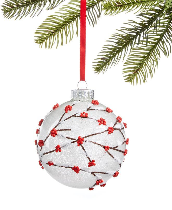 Holiday Lane Chalet You Stay, Frosted Glass Ball with Beaded Berry Branch Decoration, Created for Macy's