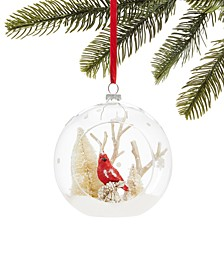 Farmhouse Clear Glass Ball with Cardinal & Snowy Branches, Created for Macy's