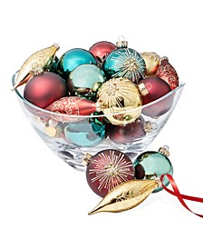 Evergreen Dreams Red, Green & Gold-Tone Glass Ornaments, Set of 22, Created for Macy's