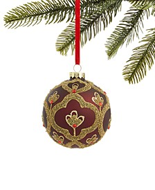 Evergreen Dreams Glass Ball Ornament with Microbead Pattern, Created for Macy's