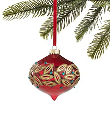 Evergreen Dreams,  Glass Onion Ornament with Painted Gold Leaf detail, Created for Macy's