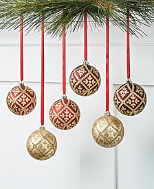 Evergreen Dreams Set of 6 Red Gold Burgandy Shatterproof Ornaments, Created for Macy's
