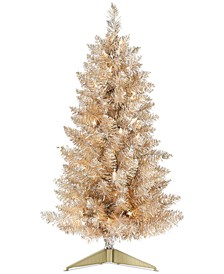 "Shine Bright Pre-Lit Champagne & Silver Tinsel 30"" Tree, Created for Macy's"