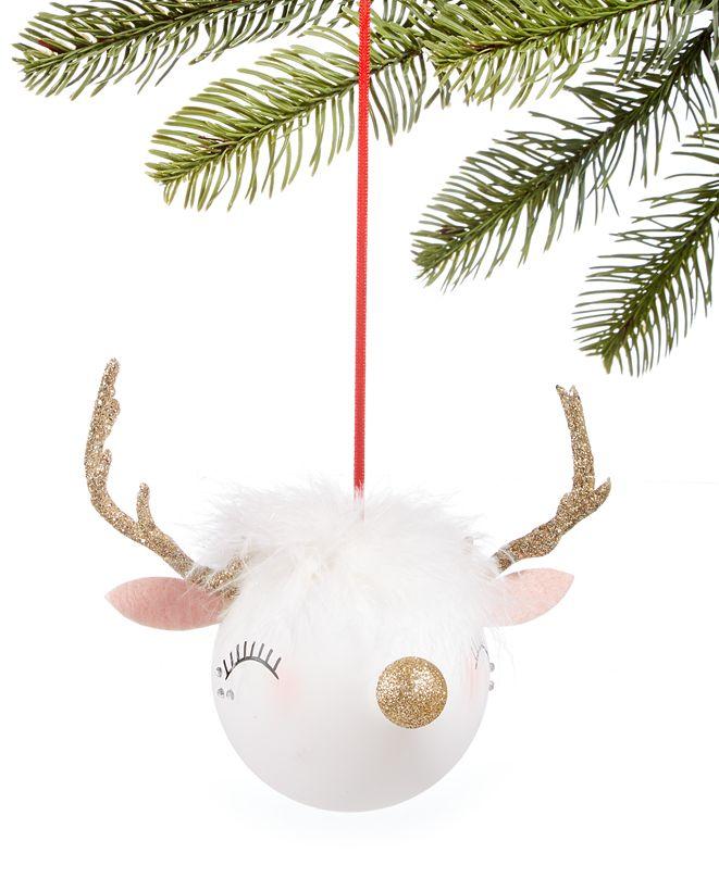Holiday Lane Shimmer & Light Glass Deer Ornament, Created for Macy's