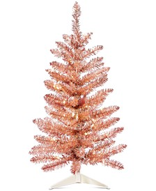Shimmer & Light, Pre-lit Rose Gold Tinsel Tree, Created for Macy's