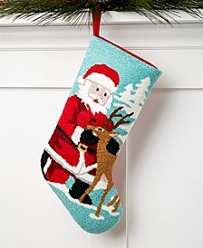 Multi-Color Santa/Reindeer Hooked Christmas Stocking, Created for Macy's
