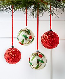 Christmas Cheer Shatterproof Red and White Ornaments, Set of 4, Created for Macy's
