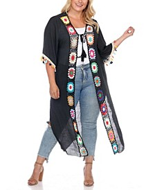 Plus Size Crochet Cover-Up Kimono