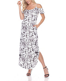 White Mark Women's Cold Shoulder Tie-Dye Maxi Dress