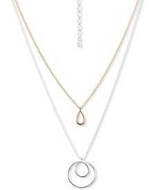 "Two-Tone Double-Row Pendant Necklace, 18"" + 3"" extender"