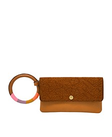 Women's Flap Wristlet Vintage-Like Saddle Woven Embossed with Wrapped Bangle