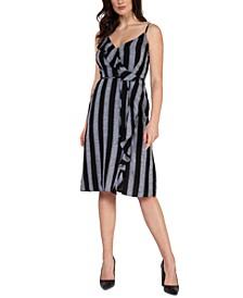 Striped Ruffled Faux-Wrap Dress