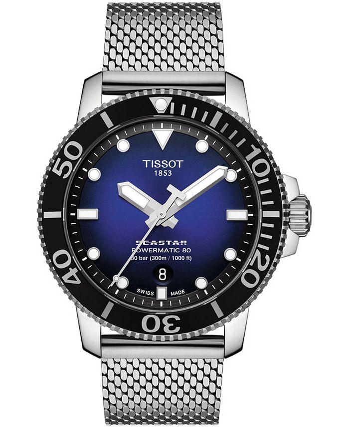 Tissot - Men's Swiss Automatic Seastar 1000 Stainless Steel Mesh Bracelet Watch 43mm