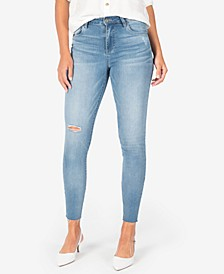 Connie High-Rise Raw-Hem Ripped Skinny Ankle Jeans