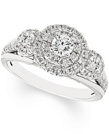 Diamond Trio Halo Engagement Ring (1 ct. t.w.) in 14k White Gold
