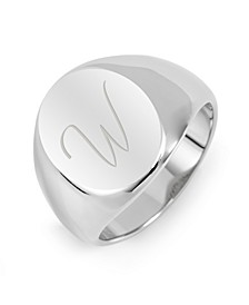 Men's Silver Tone Oval Cut Initial Stainless Steel Signet Ring