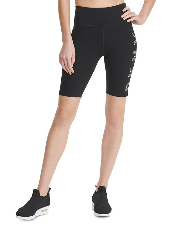 DKNY Sport Striped-Logo High-Waist Bike Shorts