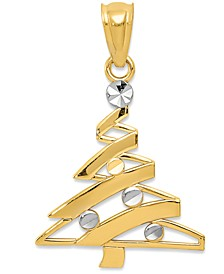Two-Tone Modern Christmas Tree Charm Pendant in 14k Gold