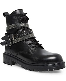 Women's Captain Rhinestone Lug Sole Combat Booties