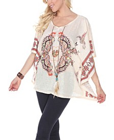 Women's Printed Poncho with Split Neckline and Tassel Ties