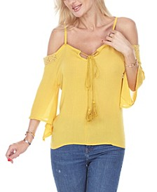 Women's Cold Shoulder Peasant Top