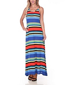 Women's Open Back Colorful Maxi Dress