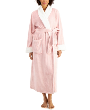 Charter Club PETITE LONG ROBE WITH FAUX-FUR TRIM, CREATED FOR MACY'S