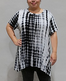 Women's Plus Size Tie Dye Short Sleeve Button Back Top