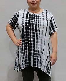 COIN 1804 Women's Plus Size Tie Dye Short Sleeve Button Back Top