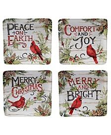 Evergreen Christmas 4 Piece Dessert Plate
