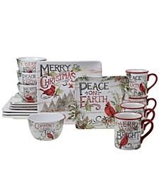 Evergreen Christmas 16 Piece Dinnerware