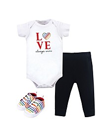 Baby Boys and Girls Bodysuit, Pant and Shoe Set