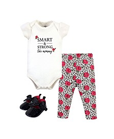 Baby Girls Bodysuit, Pant and Shoe Set