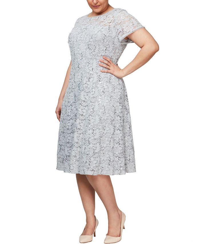 SL Fashions - Plus Size Embellished-Lace Midi Dress